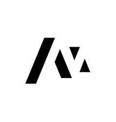 m negative space letter logo vector image