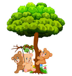 many cute baby bears and snake playing under tree vector image