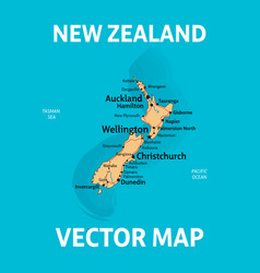 Map new zealand with cities rivers and roads vector
