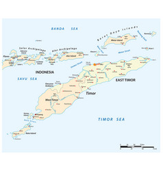 Map timor island east timor and indonesia vector