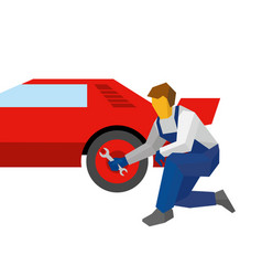 Mechanic with wrench repair red sport car vector