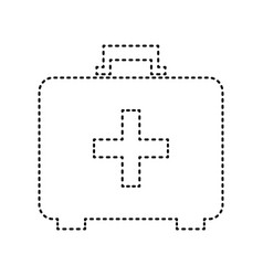 medical first aid box sign black dashed vector image
