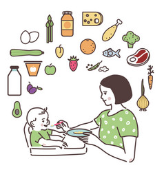 mom is feeding up the baby with a spoon vector image
