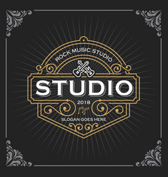Music studio logo vintage luxury banner template vector
