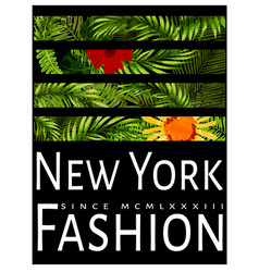 new york typography with floral t shirt graphic vector image