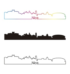 Nice skyline linear style with rainbow vector