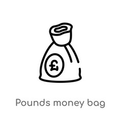 Outline pounds money bag icon isolated black vector
