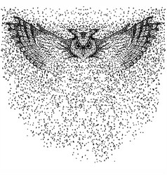 owl fly particle vector image