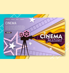 Paper cut cinema landing page website vector