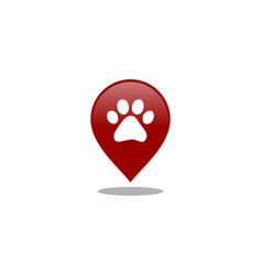 paw and location mark dog logo vector image