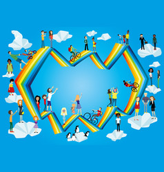 people on a rainbow in the blue sky vector image
