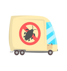 Pest controll service van cartoon vector