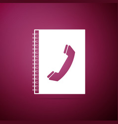 phone book icon isolated on purple background vector image