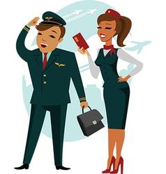 Pilot and stewardess vector