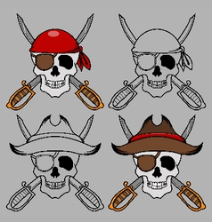Pirate skull mascot vector image