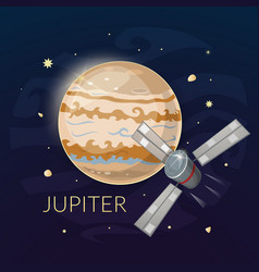 Planet jupiter and spacecraft vector