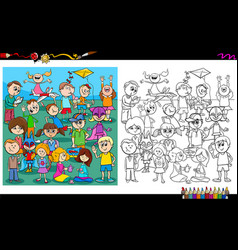 Playful children characters coloring book vector