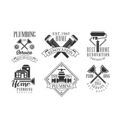 Plumbing service beat quality retro labels set vector