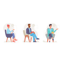 Psychologists sitting on chairs holding notes vector