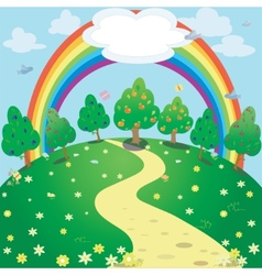 rainbow over the meadow vector image