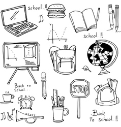 School education doodles hand draw vector image