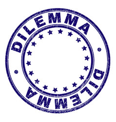 Scratched textured dilemma round stamp seal vector
