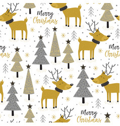 seamless pattern gold christmas trees and deer vector image