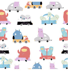 Seamless pattern with cute monsters on a cars vector