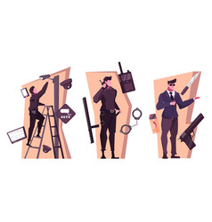 security service flat compositions vector image