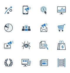 SEO and Internet Marketing Icons Set 3-Blue Series vector image