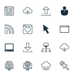 Set of 16 internet icons includes program vector
