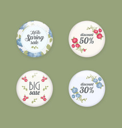 set of glossy sale buttons or badges product vector image