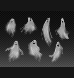 Set realistic fog ghosts 3d smokes vector