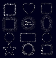 set with brushes frames with doodle stars brushes vector image