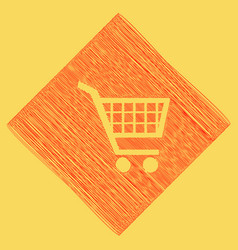 shopping cart sign red scribble icon vector image