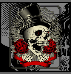 Skull wearing hat and dice rose decoration vector