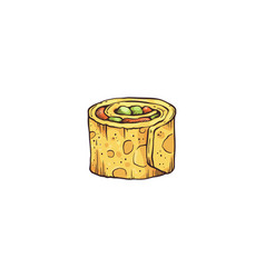 Small bite roll or appetizer sketch cartoon vector