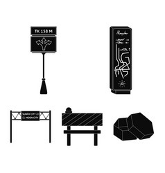 Stands and signs and other web icon in black style vector
