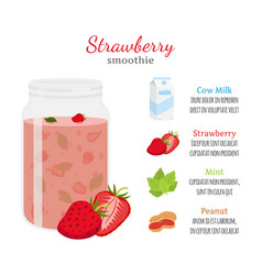 strawberry smoothie organic recipe ingredients vector image