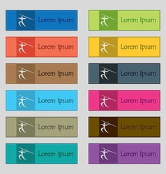 Summer sports Javelin throw icon sign Set of vector