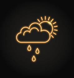 sun behind cloud with rain neon icon vector image