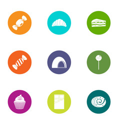 Sweetie icons set flat style vector