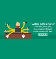 System administrator banner horizontal concept vector