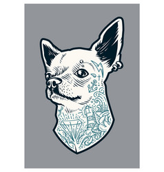 Tattooed chihuahua vector