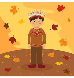 Thanksgiving Native Indian Boy vector image