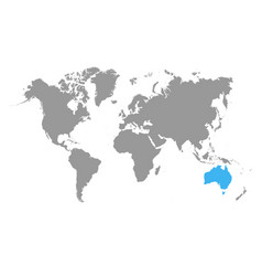 the map of australia is highlighted in blue on vector image