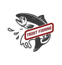 Trout fishing emblem template with trout fish vector