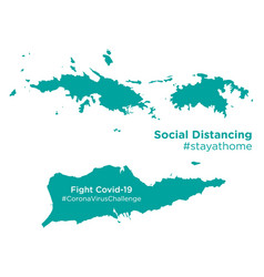 Us virgin islands map with social distancing vector