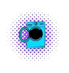Washing machine icon comics style vector