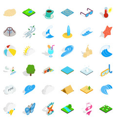 Water activity icons set isometric style vector